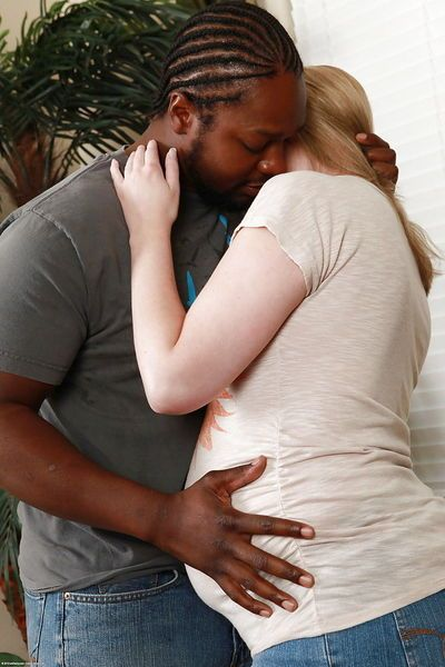 Chunky blonde amateur being force fed a thick black cock