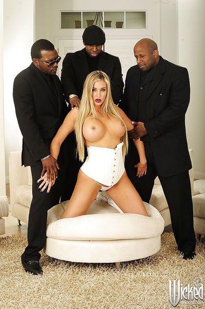 Samantha Saint and three black guys reaching multiple orgasms