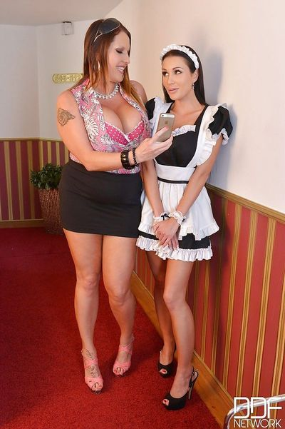 European lesbian and busty maid sharing massive double dildo