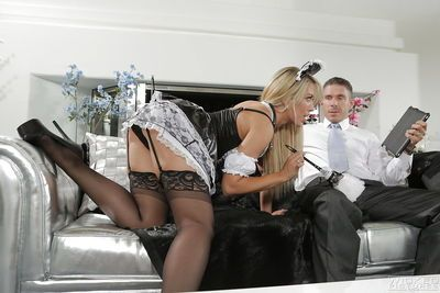 Stunning milf maid Capri Cavanni is fucking with her boss in the bed