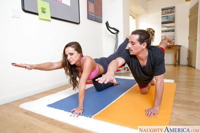 Sporty chick Abigail Mac peels of spandex to suck and fuck yoga instructor