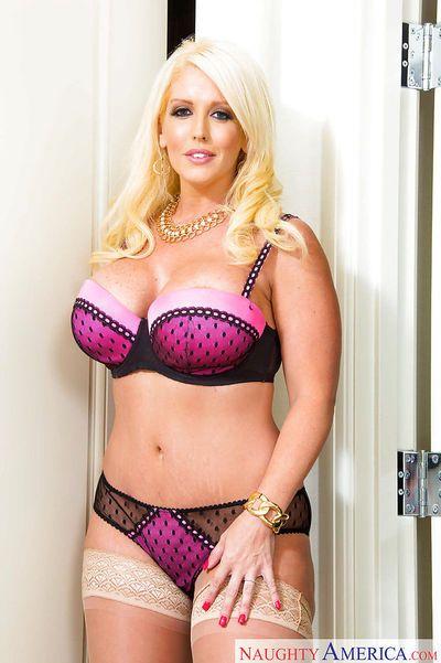 Unbelievably busty blonde MILF Alura Jenson spreading her shaved cunt