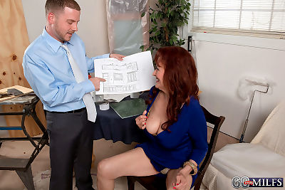 Redheaded granny Katherine Merlot rides a younger man after seducing him