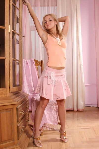Brazen blonde hottie Sweet Vicky flashes lace panty upskirt & shows nice tits