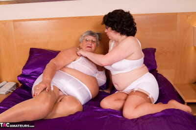 Old grannies lick nylon attired feet in vintage bra and panty ensembles