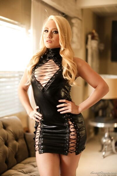 Hot blonde chick AJ Applegate takes off her leather dress to model naked