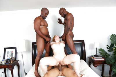 Horny Kristen Kross gets big black cock in all holes in interracial groupsex
