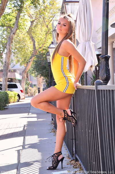 Sexy babe Carmen teases in public with her yellow panties and bubble butt