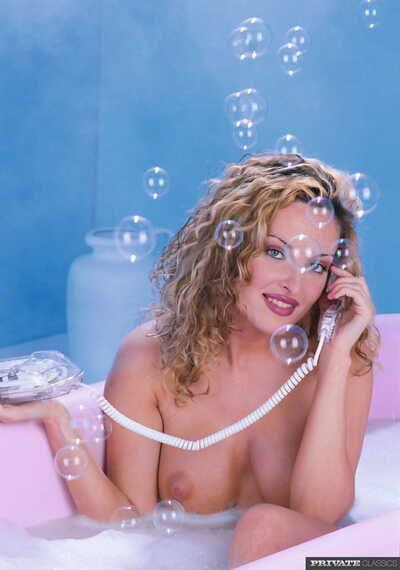 Stunning busty slut Dorothy Lake sucking & anal fucking in bathtub threesome