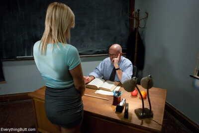Blonde girl Tara Lynn Foxx gets her love holes filled with teachers meat