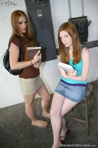 2 redhead schoolgirls Amelio Rose & Ginger Rayles suck off a BBC together
