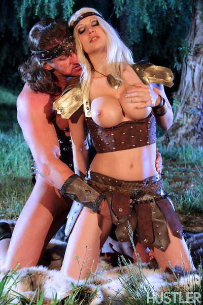Blonde chick Jazy Berlin gets fucked outside at night in cosplay outfit