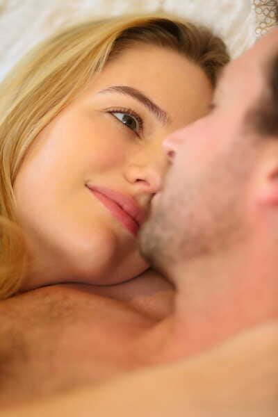 Strawberry blonde chick seduces her man for a weekend morning fuck