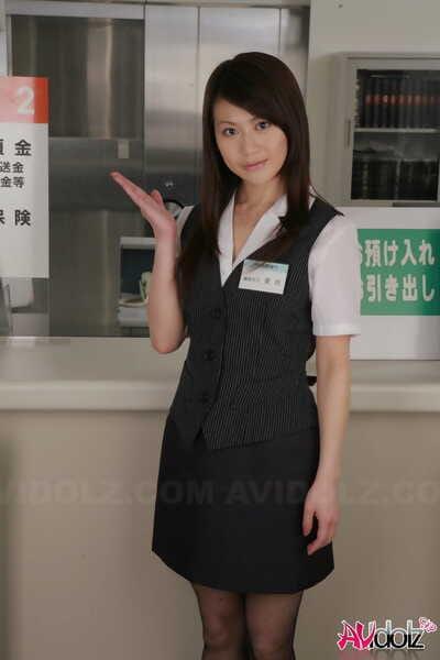Japanese sales clerk Hina Aizawa rips open her pantyhose at work