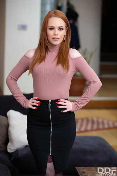 Hot redhead Ella Hughes seduces her man in three piece lingerie