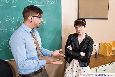 Brunette coed Nora Belle fucks in reality porn with her teacher