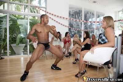 Lucky stripper gets pawed and sucked on by lusty chicks at the CFNM party