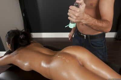 Horny asian babe with sexy ass Asa Akira fucks a masseurs big cock