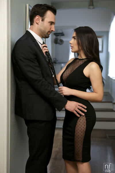 Dark haired female Valentina Nappi seduces her hubby before he leaves for work