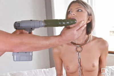 Collared BDSM sex slave with tiny tits having anal cavity toyed