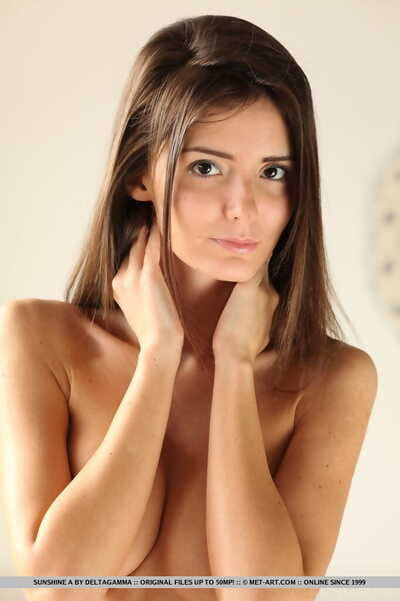 Skinny young bombshell Sunshine A exposes her tits with big nipples