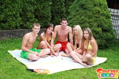 Teens having group sex outdoors