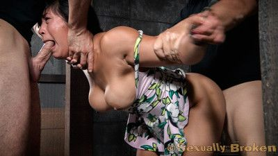 Big breasted asian mia li cums hard, tugging uselessly on her chains. we are not