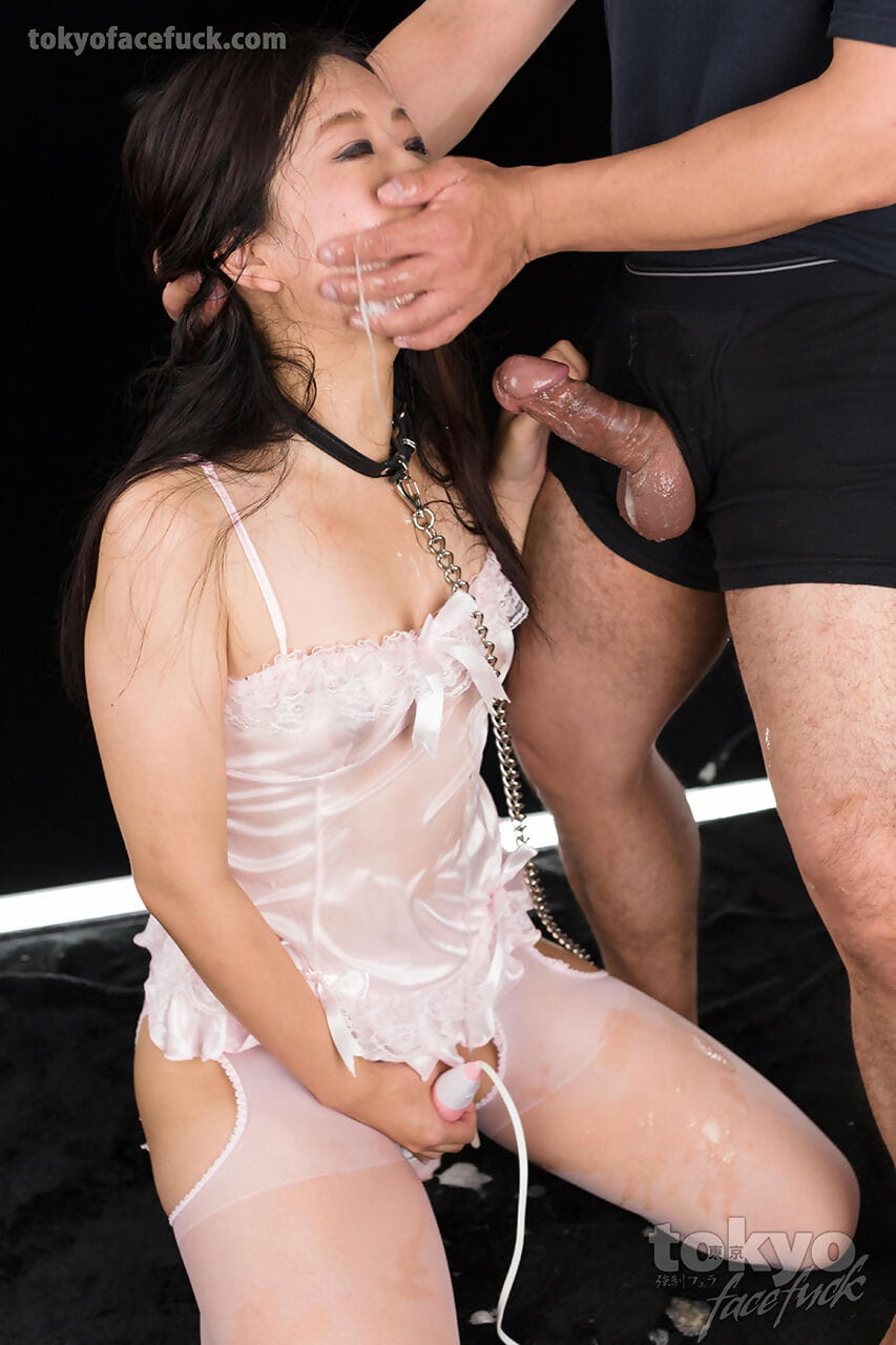 Japanese sex slave takes a facial cumshot after a messy blowjob
