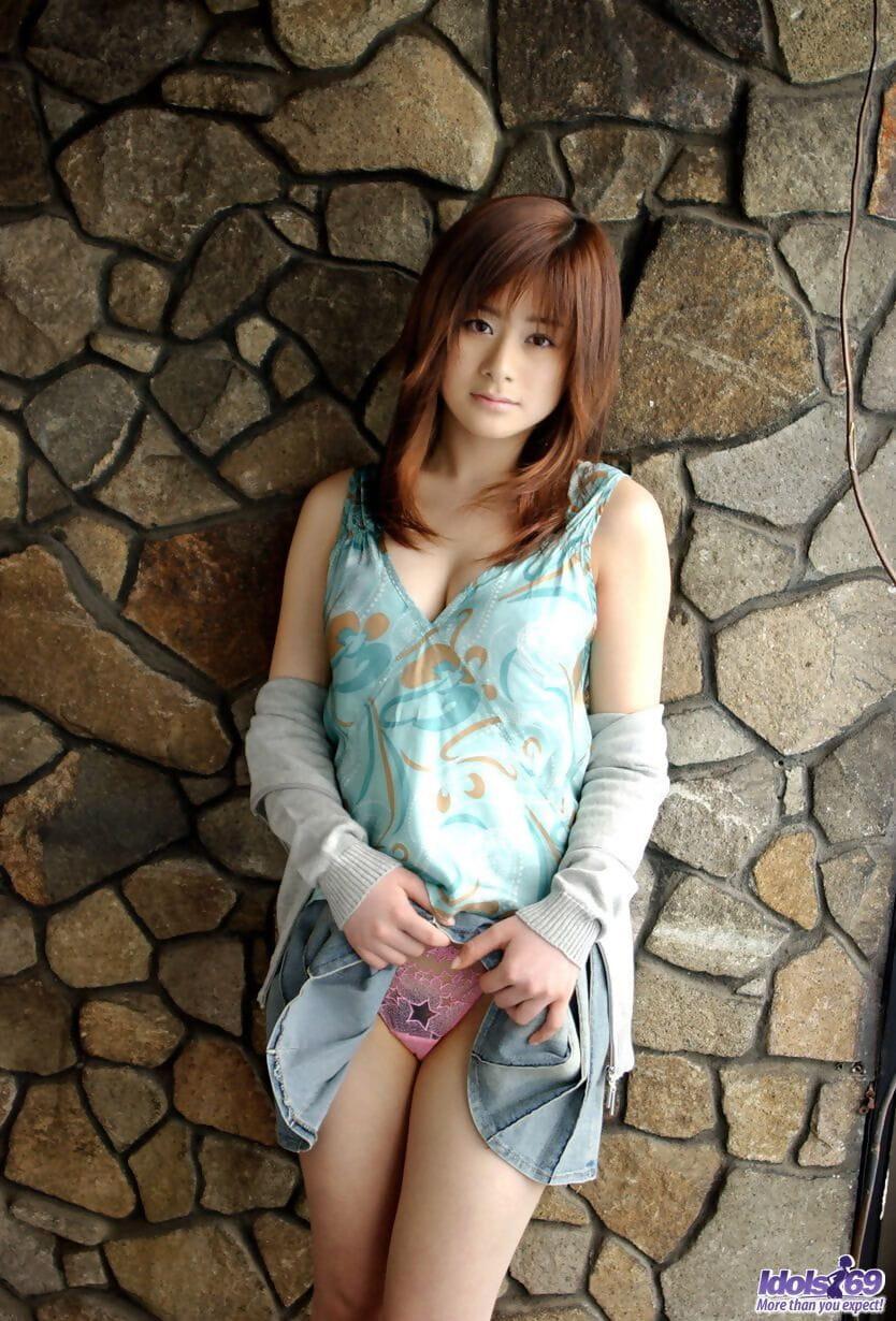 Beautiful Japanese girl Sumire Aida slips see thru panties over her ass