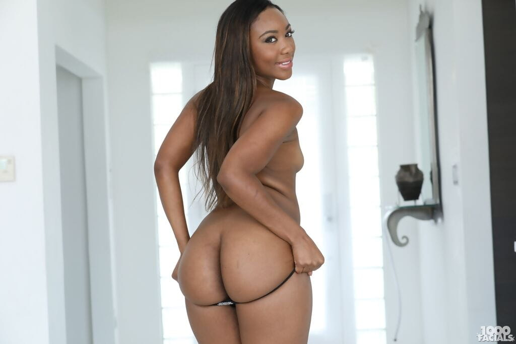 Beautiful black chick Chanell Heart uncovers her sexy ass while undressing