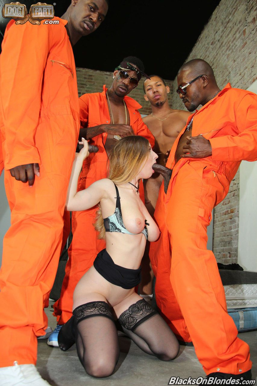 White girl Stella Cox finds herself gangbanged by black prison inmates