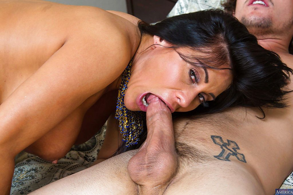 Sweetest Latina mom Sheila is taking a large dick deep in her mouth