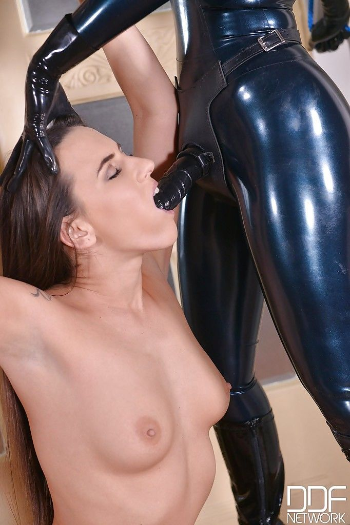 Kinky European BDSM lezdom sex with Latex Lucy ass fucking sex slaves