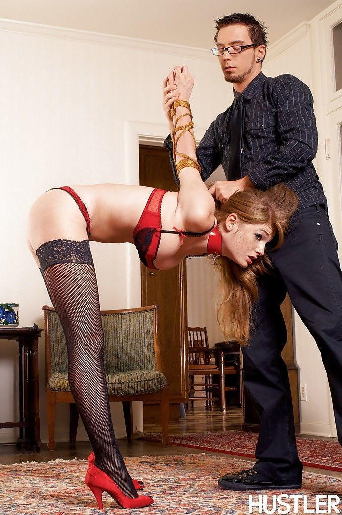 Restrained pornstar Faye Reagan undergoing tit torture and ass spanking