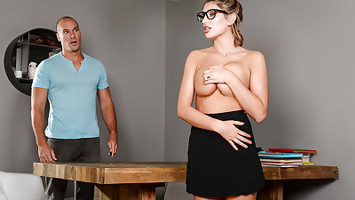 Glasses adorned coed August Ames..