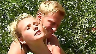 Blonde dutch slut fucked outdoors..
