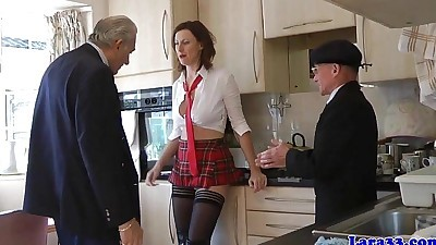 Stockings milf in threeway..