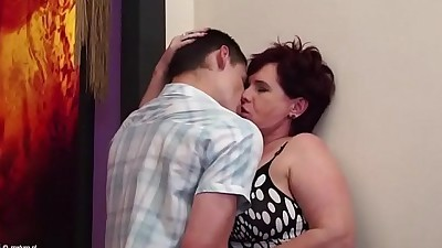 Granny sex with young sexaholic..