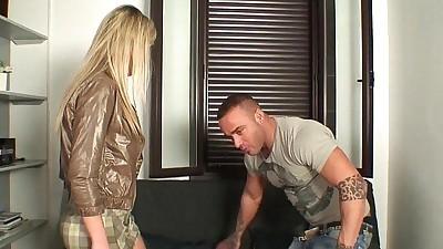 Shy blonde milf in her first porn..