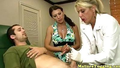 Mature cougar milfs wank cock..