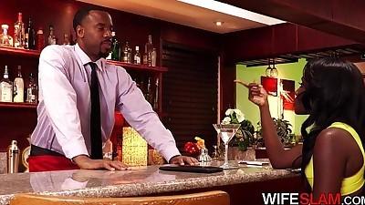 Ebony Slutwife Pays Bartender..