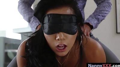 Blindfold nanny Morgan Lee banged..