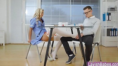 Sexy blonde nurse Lola Myluv gets..