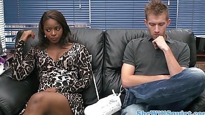 Gushing ebony babe guzzling his..