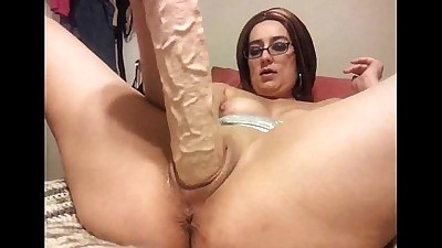 Party milf fucks huge dildo while..