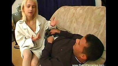 Hot Dutch Blonde Couch Sex