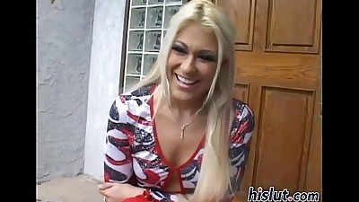 Blonde bimbo swallows a massive..