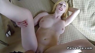 Pale blonde amateur fucks fake..