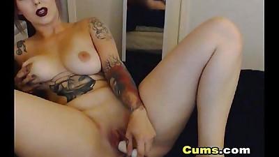 Horny Brunette Babe Masturbates..