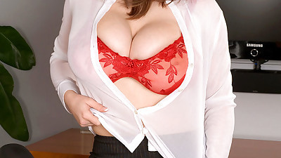Office beauty with huge tits hot..